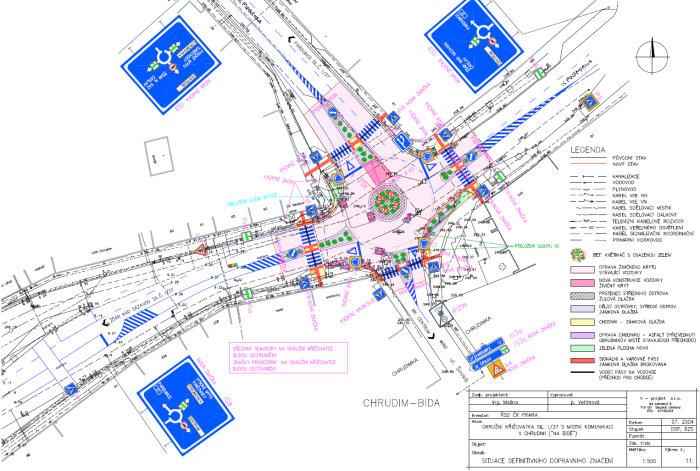 Design of a roundabout in Chrudim